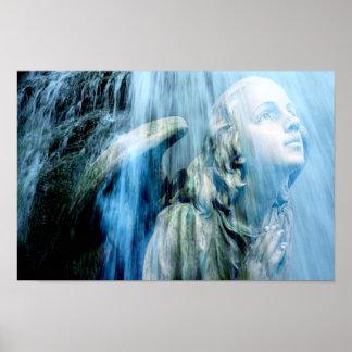 Angel WaterFall Prayer Warrior Fine Art Poster
