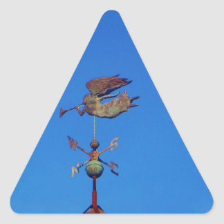 Angel Weather Vane Bright Blue Sky Triangle Sticker