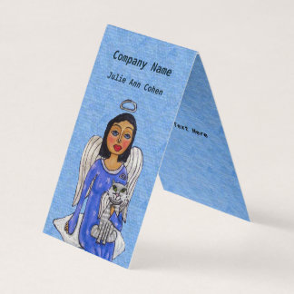Angel White Wings on Cloud White Angel Cat Blue Business Card