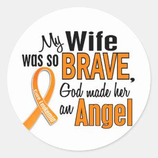 Angel Wife Leukemia Classic Round Sticker