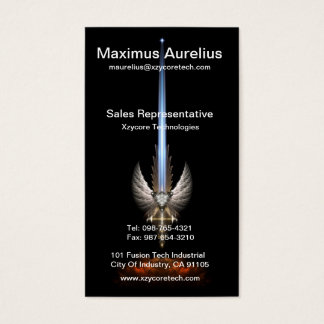 Angel Wing Sword Of Arkledious Black Business Card