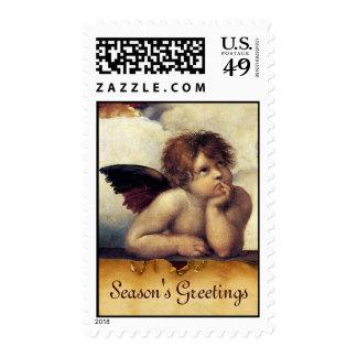 ANGEL / Winged Cherub, Monogram Postage Stamp