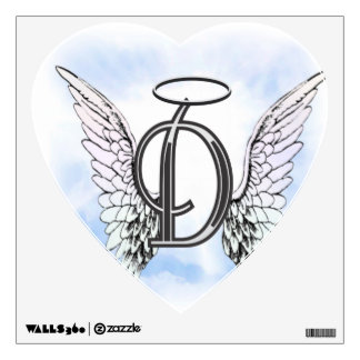Angel Wings and Halo Monogram Letter D Wall Decal