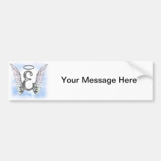 Angel Wings and Halo Monogram Letter E Car Bumper Sticker