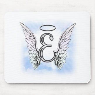 Angel Wings and Halo Monogram Letter E Mouse Pad