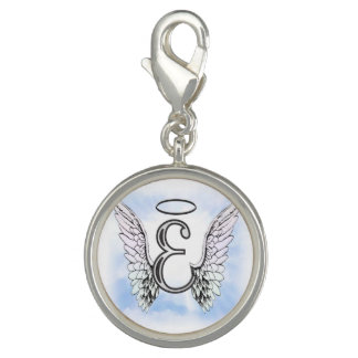 Angel Wings and Halo Monogram Letter E Photo Charm
