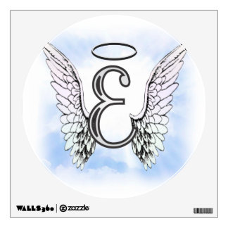 Angel Wings and Halo Monogram Letter E Wall Decal