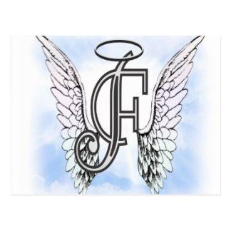 Angel Wings and Halo Monogram Letter F Postcard