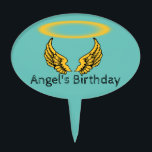"Angel Wings and Halos Customize Cake Topper<br><div class=""desc"">As you gaze upon this vivid golden angel wings and halo design know that you can change the font, font color, caption and color background to whatever you want; The magic of Zazzle is you can customize; with the exception of the halo and wings; which look good on all Zazzle...</div>"