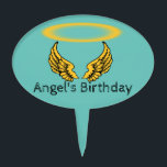 """Angel Wings and Halos Customize Cake Topper<br><div class=""""desc"""">As you gaze upon this vivid golden angel wings and halo design know that you can change the font, font color, caption and color background to whatever you want; The magic of Zazzle is you can customize; with the exception of the halo and wings; which look good on all Zazzle...</div>"""