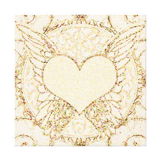 Angel Wings and Heart Stretched Canvas Print