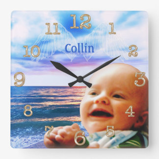 Angel Wings Beach Clock Your TEXT and PHOTO