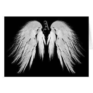 ANGEL WINGS Black Custom Monogram Card