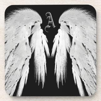 ANGEL WINGS Black Custom Monogram Drink Coaster