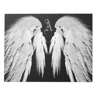 ANGEL WINGS Black Custom Monogram Notepad