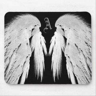 ANGEL WINGS Black Monogram Mouse Pad