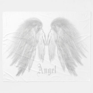 ANGEL WINGS Custom Name White Fleece Blanket