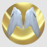 Angel Wings Gold Classic Round Sticker