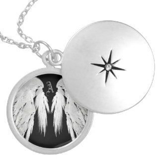 ANGEL WINGS Gray Touched Feathers Custom Monogram Locket Necklace