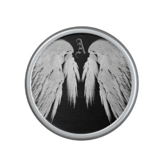 ANGEL WINGS Gray Touched Feathers Custom Monogram Speaker