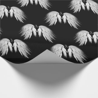ANGEL WINGS Gray Touched Feathers Custom Monogram Wrapping Paper