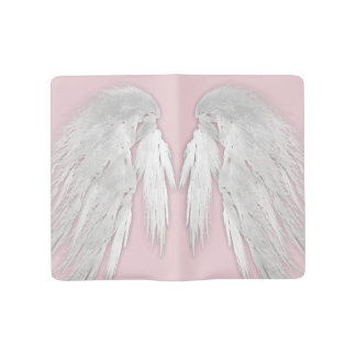 ANGEL WINGS Gray Touched Feathers Customizable Large Moleskine Notebook Cover With Notebook