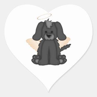 Angel Wings Halo Puppy Dog 3 Heart Sticker