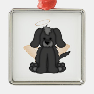 Angel Wings Halo Puppy Dog 3 Metal Ornament
