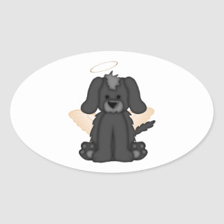 Angel Wings Halo Puppy Dog 3 Oval Sticker