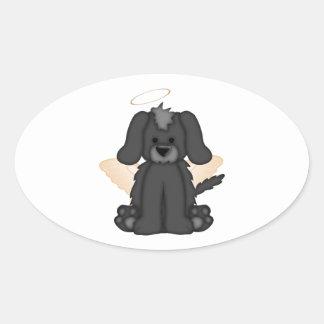 Angel Wings Halo Puppy Dog 3 Oval Sticker