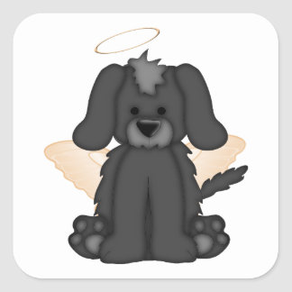Angel Wings Halo Puppy Dog 3 Square Sticker