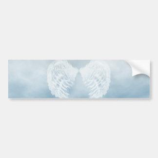 Angel Wings in Cloudy Blue Sky Car Bumper Sticker