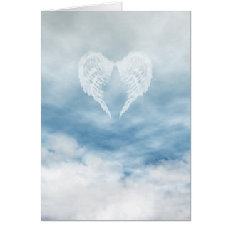 Angel Wings in Cloudy Blue Sky Card