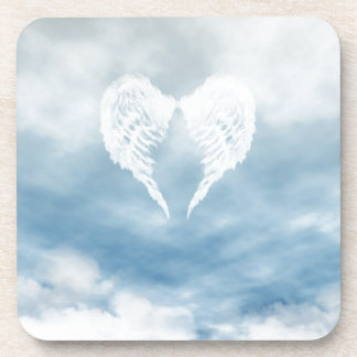 Angel Wings in Cloudy Blue Sky Drink Coaster