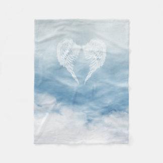 Angel Wings in Cloudy Blue Sky Fleece Blanket