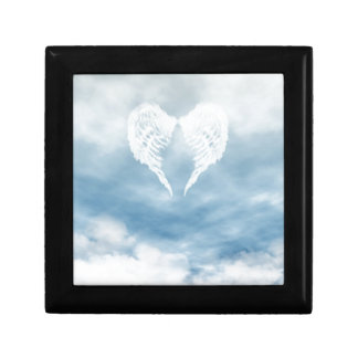 Angel Wings in Cloudy Blue Sky Keepsake Box