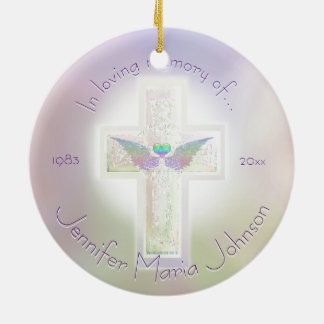 Angel Wings Memorial Custom Ceramic Ornament