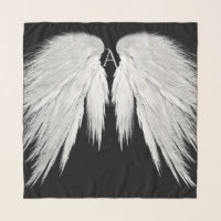 ANGEL WINGS Monogram Black Scarf
