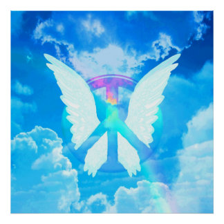 Angel Wings & Peace Sign Poster