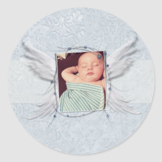 Angel Wings photo Frame Blue Baby Instagram Classic Round Sticker