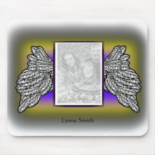 Angel Wings Photo Frame, Personalize Mouse Pad