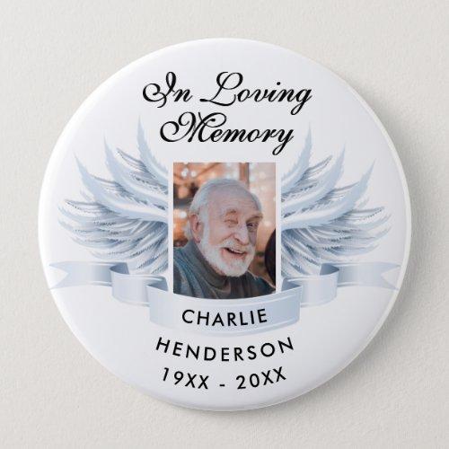 Angel Wings Photo Loving Memory FuneralMemorial Button