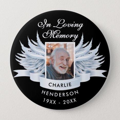 Angel Wings Photo Loving Memory Funeral/Memorial Button