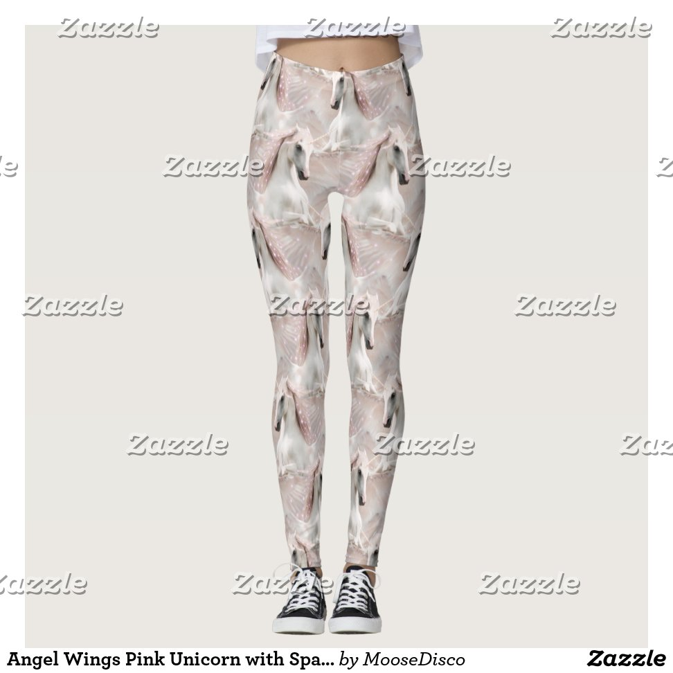 a4026ad88815f Angel Wings Pink Unicorn with Sparkles Leggings - Yoga Leggings And Exercise  Tights With Beautiful Graphic