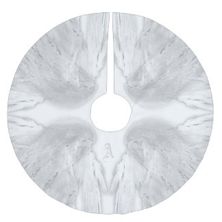 ANGEL WINGS White Custom Monogram Brushed Polyester Tree Skirt