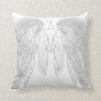 ANGEL WINGS White Custom Monogram Throw Pillow