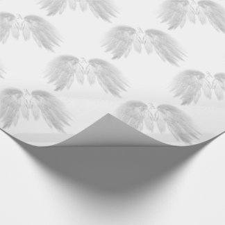 ANGEL WINGS White Custom Monogram Wrapping Paper