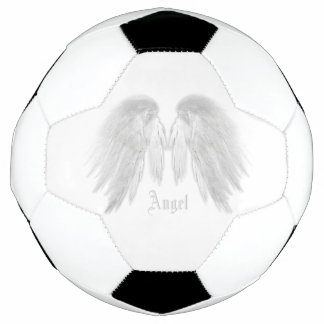 ANGEL WINGS White Custom Name Soccer Ball