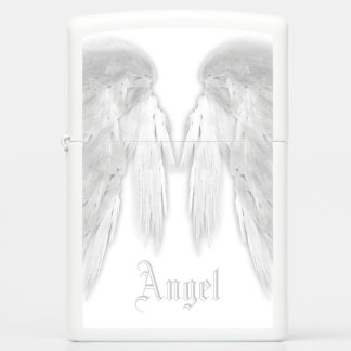 ANGEL WINGS White Custom Name Zippo Lighter
