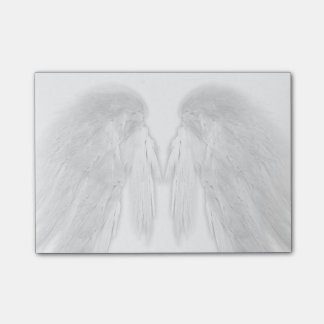 ANGEL WINGS White - Gray Touched Feathers - Post-it Notes